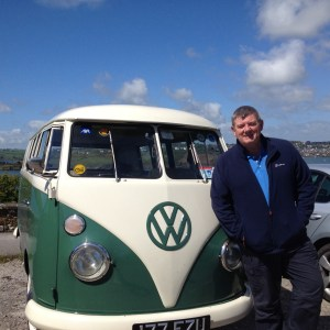 """John Creedon and the AXA VW bus during folming for the RTE """"Wild Atlantic Way"""" programme."""