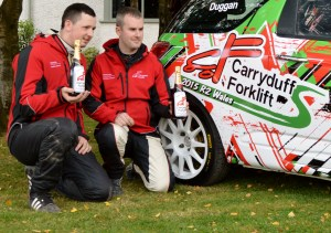 Rob Duggan (l) & Ger Conway winners of the Carryduff Forklift R2 Wales award