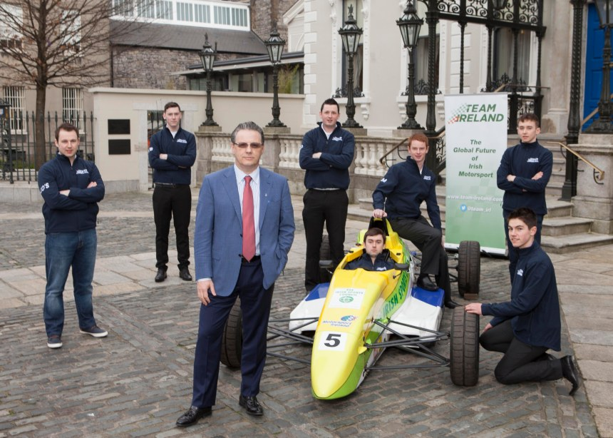 No Repro Fee 16/02/2016 Motorsport Ireland launches the Team Ireland Foundation at the Mansion House Dublin Expat Irish multimillionaire John Campion, pictured with Team Ireland drivers, as he launched this new initiative, a national programme of support and development for talented drivers in the sports of rallying, racing and karting at the Mansion House in Dublin yesterday. Photo: Peter Houlihan