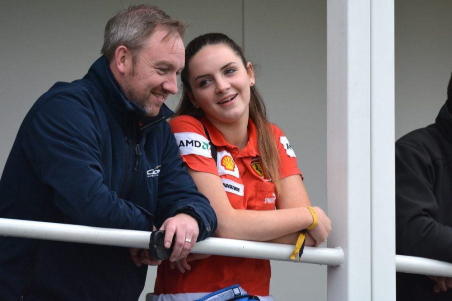 Alyx Coby with her father, Gary, at the IAME International Final, Le Mans, France. Photo: Marc Quinlivan