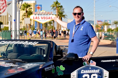 NO FEE PIC 02/11/17: Alan Bannon Founder of Cannonball Ireland pictured in Las Vegas with his first Cannonbal USA. Ireland's CANNONBALL supercar event is currently blazing a trail through America. A group of sixty Irish Cannonballers jetted off from Dublin to San Francisco this week for the largest and most exhilarating foreign CANNONBALL event. The route takes in San Fransisco, Yosemite National Park, Mammoth Lakes, Death Valley, Las Vegas, Hollywood, Los Angeles, Santa Barbara and Santa Maria and Carmel before looping back to San Francisco and Cannonballers are driving in style in a convoy of high performnce convertible Muscle cars including Ford Mustangs, Cameros and Dodge Chargers and a Shelby. Cannonball is an Irish Superrcar Event which has raised almost €1,000,000 for Irish Childrens Charities. Photo: Kasia Farat