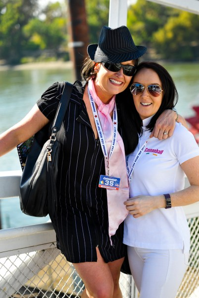 NO FEE PIC 02/11/17: Helen O Dwyer and Valerie Grogan pictured in Sacramento all rvved up for the first Cannonbal USA. Ireland's CANNONBALL supercar event is currently blazing a trail through America. A group of sixty Irish Cannonballers jetted off from Dublin to San Francisco this week for the largest and most exhilarating foreign CANNONBALL event. The route takes in San Fransisco, Yosemite National Park, Mammoth Lakes, Death Valley, Las Vegas, Hollywood, Los Angeles, Santa Barbara and Santa Maria and Carmel before looping back to San Francisco and Cannonballers are driving in style in a convoy of high performnce convertible Muscle cars including Ford Mustangs, Cameros and Dodge Chargers and a Shelby. Cannonball is an Irish Superrcar Event which has raised almost €1,000,000 for Irish Childrens Charities. Photo: Kasia Farat