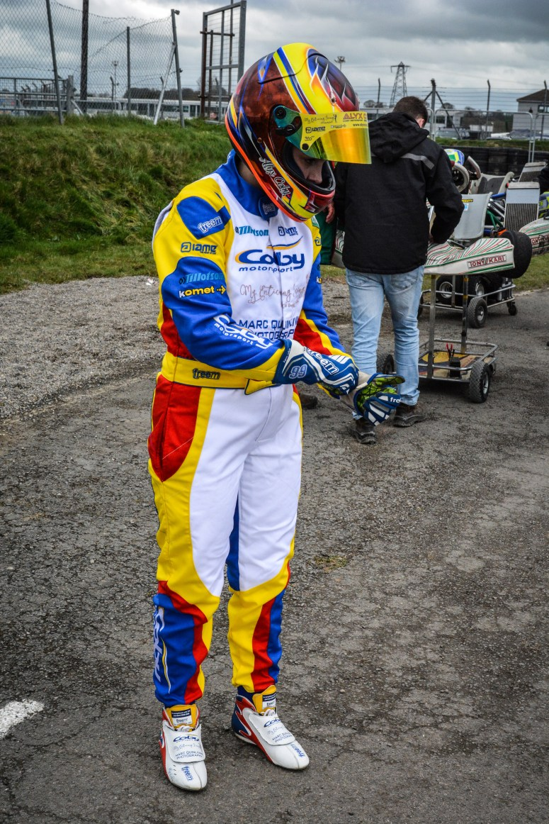 Alyx Coby prepares for her race at Round 2 of the Motorsport Ireland Karting Championship at Mondello Park. Photo: Marc Quinlivan.