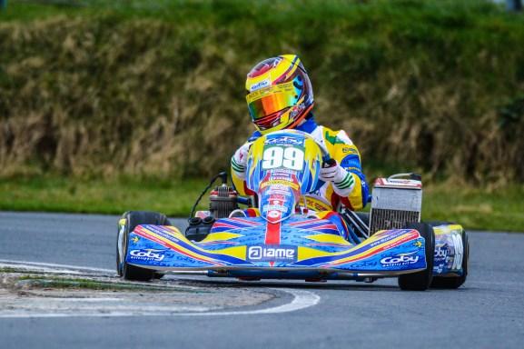 Alyx Coby at Round 2 of the Motorsport Ireland Karting Championship at Mondello Park. Photo: Marc Quinlivan.