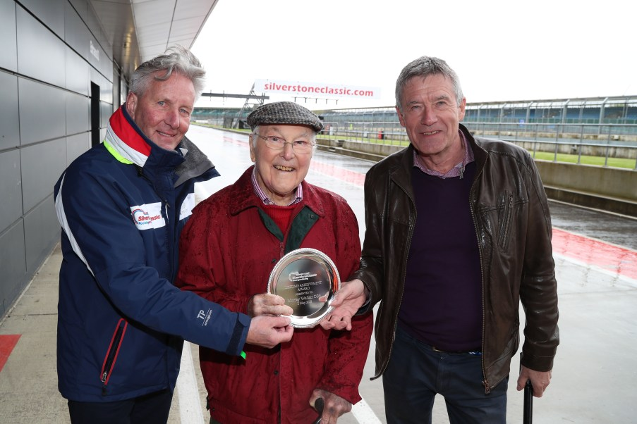 Silverstone Classic (20-21 July 2018) Preview Day, 2 May 2018, At the Home of British Motorsport. Nick Wigley, Murray Walker and Tiff Needell Free for editorial use only. Photo credit - JEP