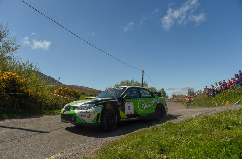 6 May 2018; Manus Kelly and Donall Barrett in a (Subaru Impreza WRC) during Day Two of the 2018 Cartell.ie Rally of the Lakes, at Special Stage 13 Brook Hill, Killarney, Co Kerry.