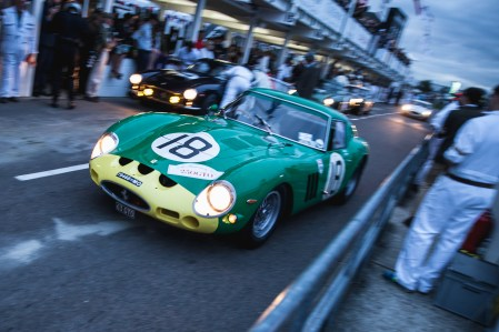 A Ferrari 250 GTO exits the pits. Taken by Tim Brown for Goodwood