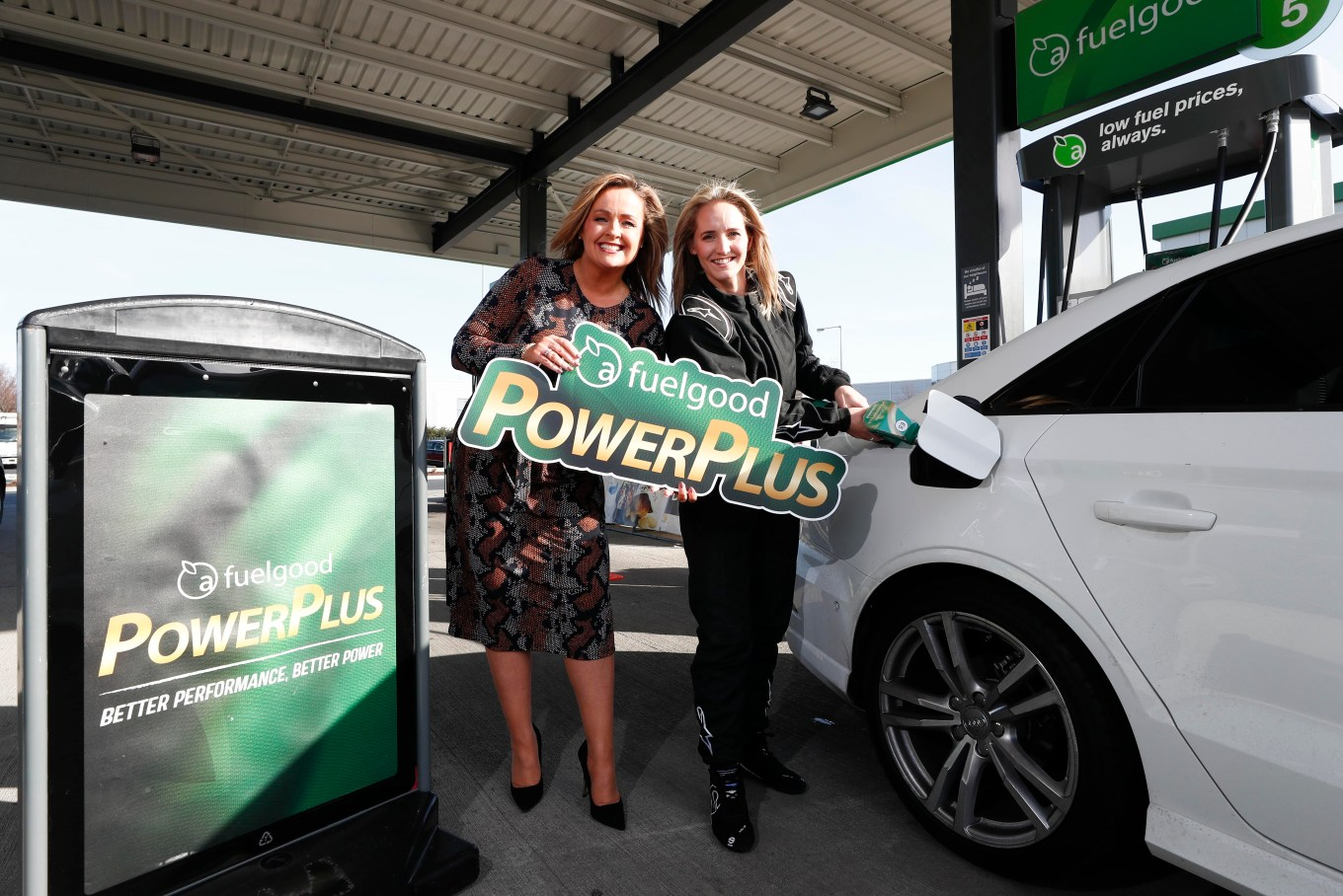 Nicci Daly, motorsport engineer, Irish international hockey player and World Cup Silver Medalist 2018 fuels up for for better performance with Aisling Ryan, Head of Marketing, Applegreen at Applegreen M50 Services Junction 10, Ballymount for the launch of fuelgood PowerPlus, Applegreen's most advanced, premium fuel.
