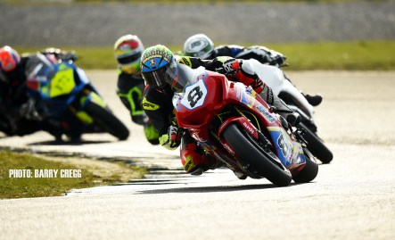06-04-2019; Emmet O'Grady, Honda CBR 1000, Jamie O'Keeffe, Kawasaki ZX10R, Dean Fishbourne, Suzuki GSXR 1000 and Derek Wilson, Suzuki GSXR 1000, during the Superbike race at the Mondello Masters. Dunlop Mondello Masters Rounds 1,2&3, Mondello Park, Donore, Naas, Co. Kildare. Photo Barry Cregg