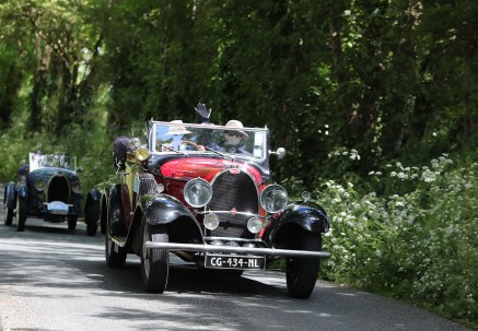 Bugatti Tour Meeting driving through Cill na Martra Co Cork. International Bugatti Meetings are held in a rotation through Europe. In 2019 the meeting based at the Dunloe Castle, Killarney, toured the peninsulas of West Cork and Kerry. Driving the Wild Atlantic Way. The most iconic and valuable Bugatti cars celebrates its 110th anniversary. Frenchman Ettore Bugatti created the first engineering art form of car manufacturing in 1909. The symbolic racing cars are worth millions of euro.Photo:Valerie O'Sullivan©