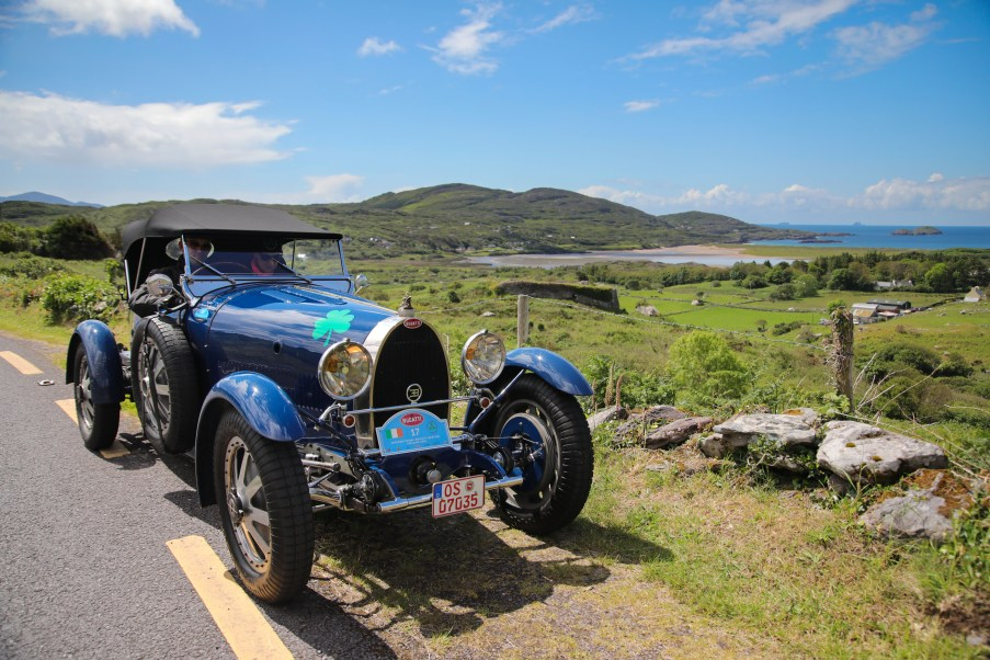Bugatti Tour Meeting driving through Caherdaniel, Co Kerry. International Bugatti Meetings are held in a rotation through Europe. In 2019 the meeting based at the Dunloe Castle, Killarney, toured the peninsulas of West Cork and Kerry. Driving the Wild Atlantic Way. The most iconic and valuable Bugatti cars celebrates its 110th anniversary. Frenchman Ettore Bugatti created the first engineering art form of car manufacturing in 1909. The symbolic racing cars are worth millions of euro.Photo:Valerie O'Sullivan©