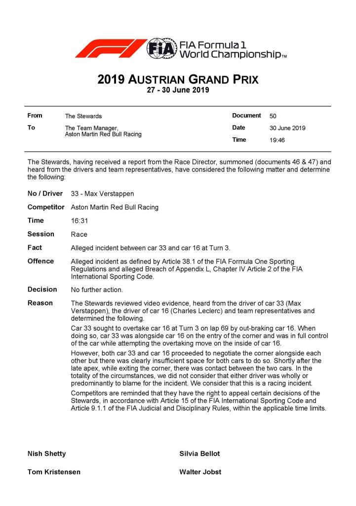 decisione ufficiale verstappen verdetto gp austria