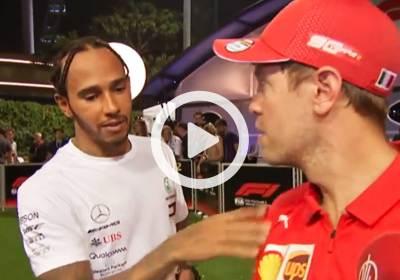 F1-GP-Singapore---Hamilton-interrompe-Vettel-Intervista-per-Congratularsi