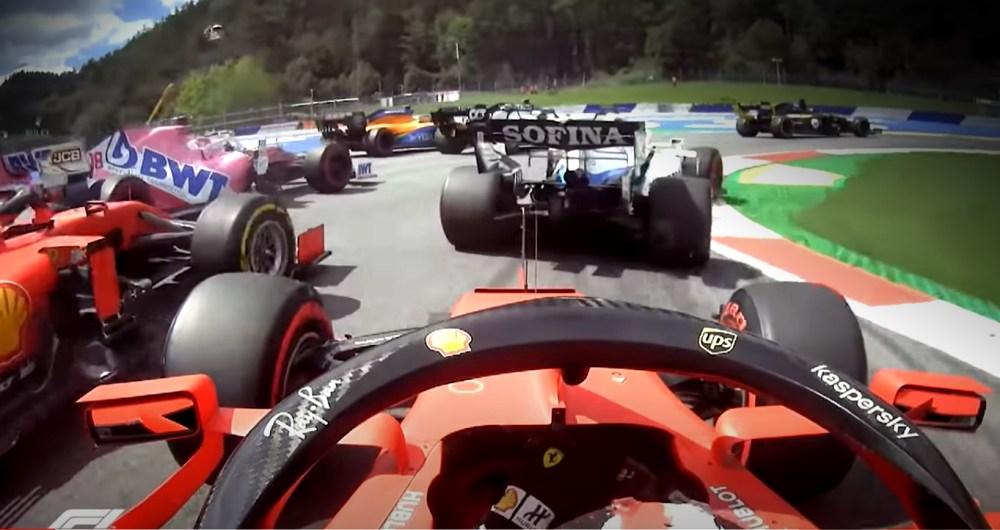 f1 ferrari incidente austria video leclerc vettel gara oggi