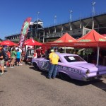 Fans enjoy the #22 Fireball Roberts tribute car at Darlington Raceway September 1-3