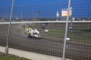 Sprint Cars race into turn 4 at Texas Motor Speedway