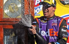 Denny Hamlin grabbed his fifth victory at the famed Martinsville Speedway.