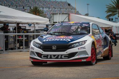 Joni Wiman takes his #31 Honda through the paddock before a practice session for Red Bull Global Rallycross Supercars at Daytona International Speedway on June 17, in Daytona Beach, FL