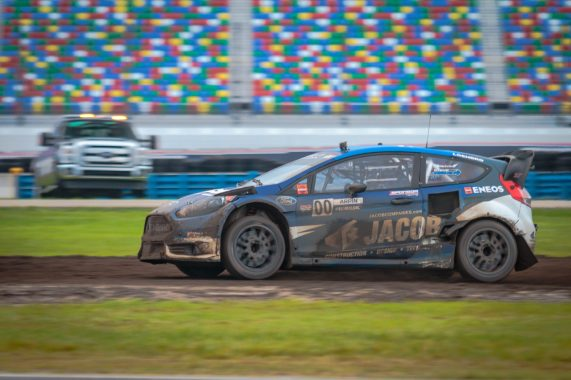 Steve Arpin powers through the mud to take the victory during the first Red Bull Global Rallycross Supercars final at Daytona International Speedway on June 18, in Daytona Beach, FL