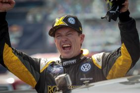 Tanner Foust celebrates a victory at Daytona International Speedway for the second year in a row in Red Bull Global Rallycross Supercars on June 19, in Daytona Beach, FL