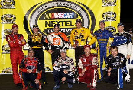 RICHMOND, VA - SEPTEMBER 11:  Top-ten drivers involved in the NASCAR Chase for the Nextel Cup, (L-R) Dale Earnhardt, Jr., Jeff Gordon, Matt Kenseth, Tony Stewart, Jimmie Johnson, Elliott Sadler, Jeremy Mayfield, Kurt Busch, Ryan Newman, and Mark Martin pose following the NASCAR Nextel Cup Chevy Rock & Roll 400 on September 11, 2004 at Richmond International Raceway in Richmond, Virginia.  (Photo by Rusty Jarrett/Getty Images)