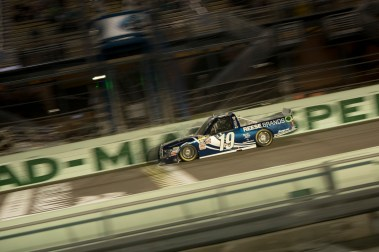 Daniel Hemric (19) passes the start finish line during the Ford Ecoboost 200 at Homestead-Miami Speedway.