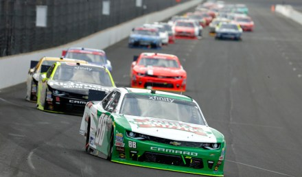 INDIANAPOLIS, IN - JULY 23: Kevin Harvick, driver of the #88 Hunt Brothers Pizza Chevrolet, leads a pack of cars during the NASCAR XFINITY Series Lilly Diabetes 250 at Indianapolis Motor Speedway on July 23, 2016 in Indianapolis, Indiana.  (Photo by Andy Lyons/Getty Images)
