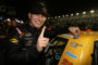 DAYTONA BEACH, FL - FEBRUARY 24:  Kaz Grala, driver of the #33 KiklosGreekExtraVirginOliveOil Chevrolet, celebrates in Victory Lane by putting a winner's sticker on his truck during the NASCAR Camping World Truck Series NextEra Energy Resources 250 at Daytona International Speedway on February 24, 2017 in Daytona Beach, Florida.  (Photo by Jerry Markland/Getty Images)