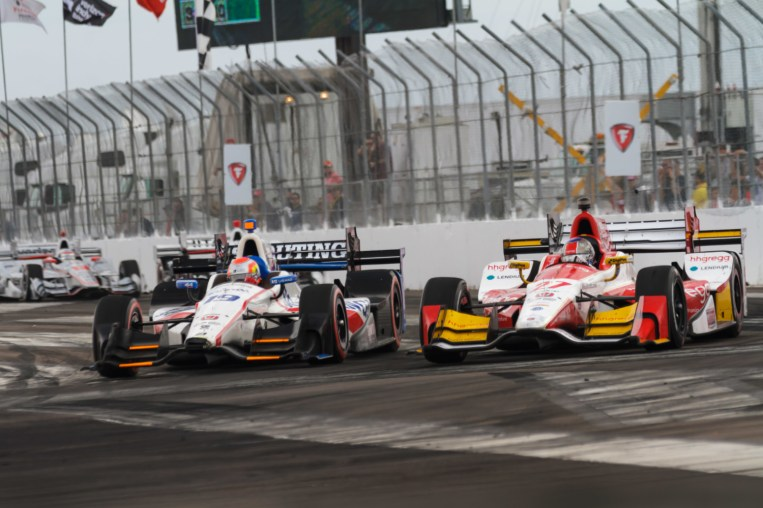 Ed Jones (#19) makes a move to the inside of Marco Andretti (#27) into turn 1 during the Firestone Grand Prix of St. Petersburg on Sunday Mar. 12, 2017.
