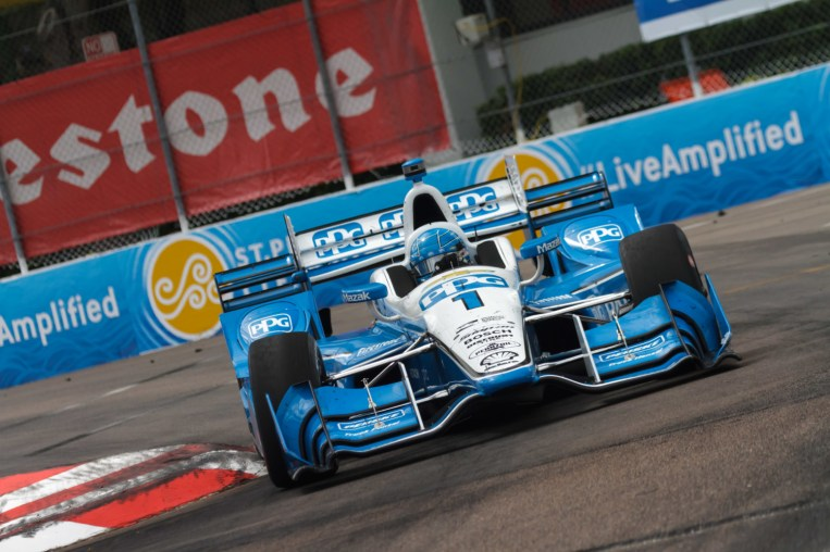 Simon Pagenaud hits the apex at turn 4 during the Firestone Grand Prix of St. Petersburg on Sunday Mar. 12, 2017.
