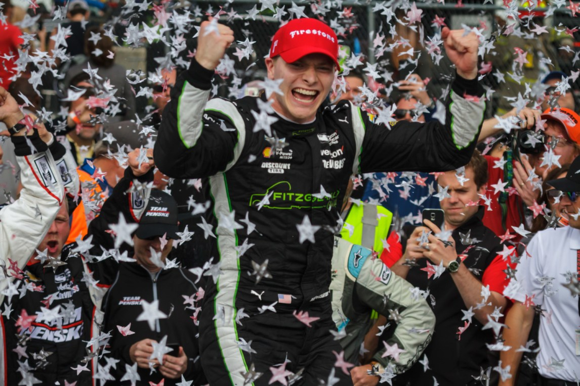 Josef Newgarden celebrates his victory in the 2017 Honda Indy Grand Prix of Alabama at Barber Motorsports Park on April 23, 2017.