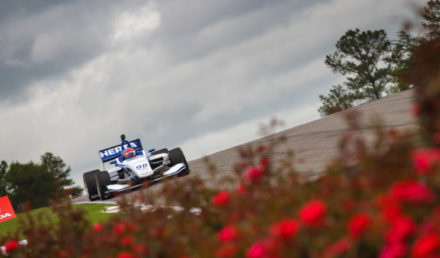 Colton Herta brakes hard for turn 5 during the 400th Indy Lights race at Barber Motorsports Park on April 23, 2017.