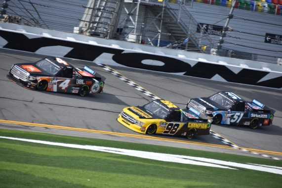 Todd Gilliland (4), Grant Enfinger (98) and Christian Eckes (51) continuing their drafting runs.