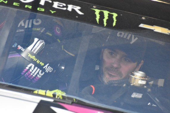 Jimmie Johnson prepares for final practice.