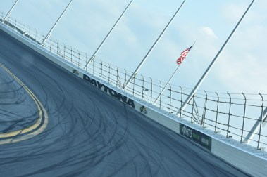 The high Turn 3 banking of Daytona International Speedway.