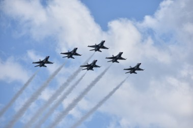 Flyover jets flying past the Daytona International Speedway.