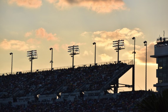 Sunset at the Daytona International Speedway.