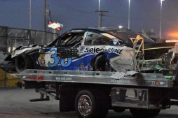 The remains of David Ragan's Ford after being collected in a 21-car crash on Lap 191.