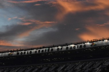 Clouds looms an otherwise nice evening prior to the NextEra Energy Resources 250.