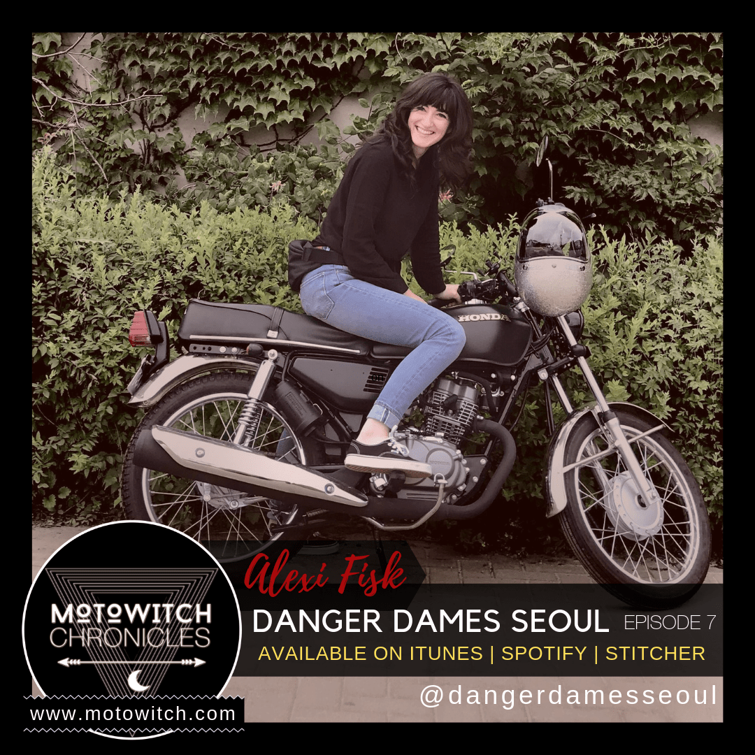 Alexi Fisk founder of Danger Dames female motorcycle club in Seoul South Korea on Honda motorcycle