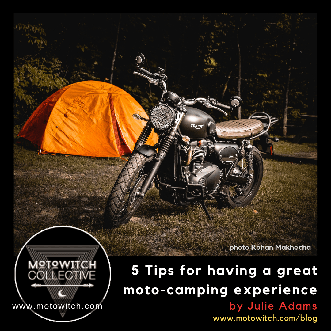 tips for motorcycle camping triumph street scrambler motorbike beside tent on campsite