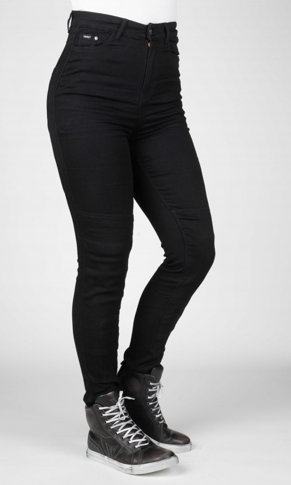 black motorcycle safety jeans for women with kevlar lining and armour with hugh waist
