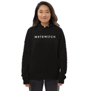 beautiful smiling asian woman wearing an organic motowitch motorcycle pullover hoodie