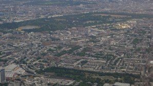 View of London from the air showing Royal Albert Hall as a smallish circular building in the centre