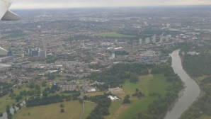 An oblique aerial photo showing a swath of green at the bottom; that is Syon Park (Photo credit Jill Browne)