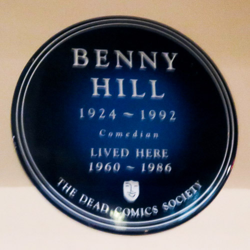 Benny Hill lived here, a blue plaque in London, England