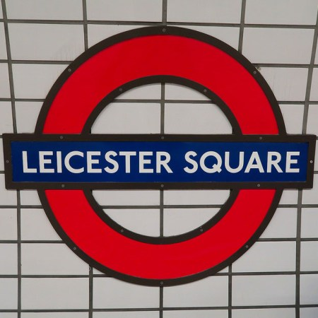 Leicester Square tube station sign