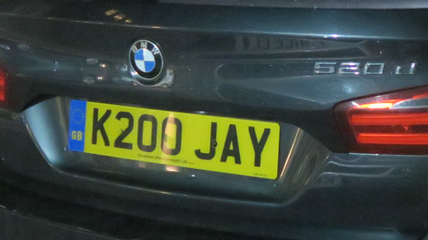 K200 JAY vanity plate on a BMW car. A BMW K200 is a motorbike, says Google.