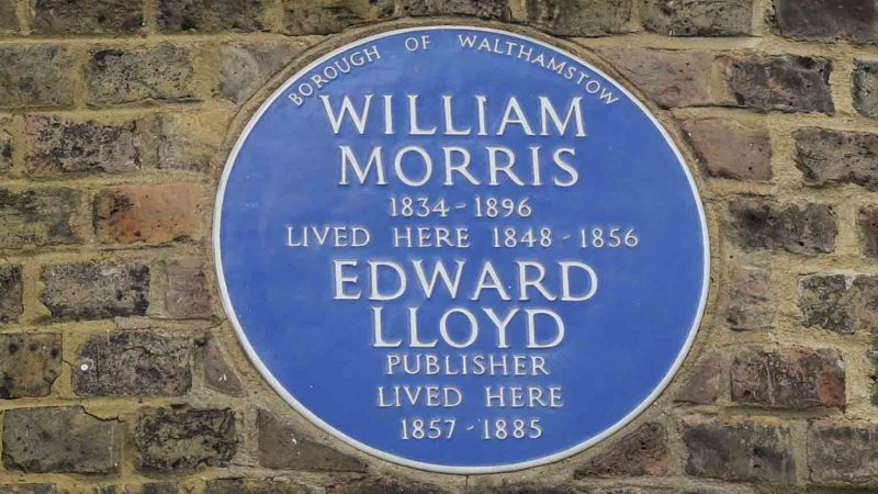 William Morris Gallery blue plaque for Morris and Edward Lloyd