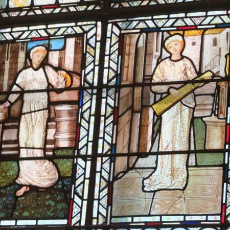 Detail of stained glass in Morris room, V&A